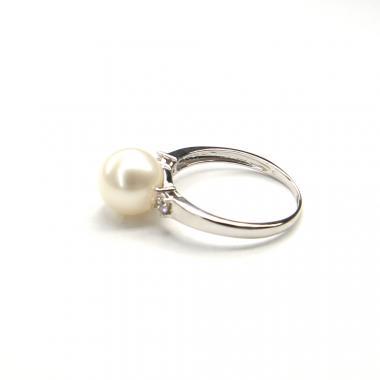 Prsteň z bieleho zlata s morskou perlou a zirkónmi Pattic 3g BV501901W-56